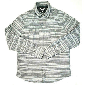 Vissla Mens Trails Flannel Gray Shirt Size Medium